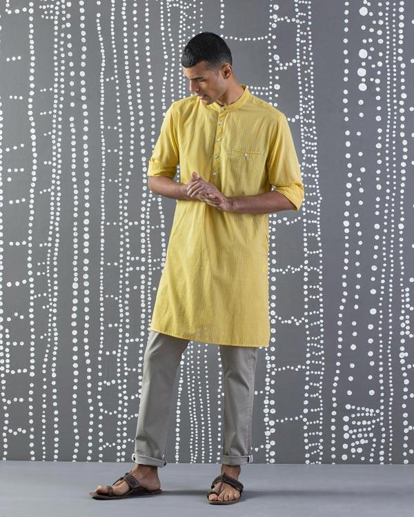 Pondicherry Stripe Kurta - Yellow & Grey