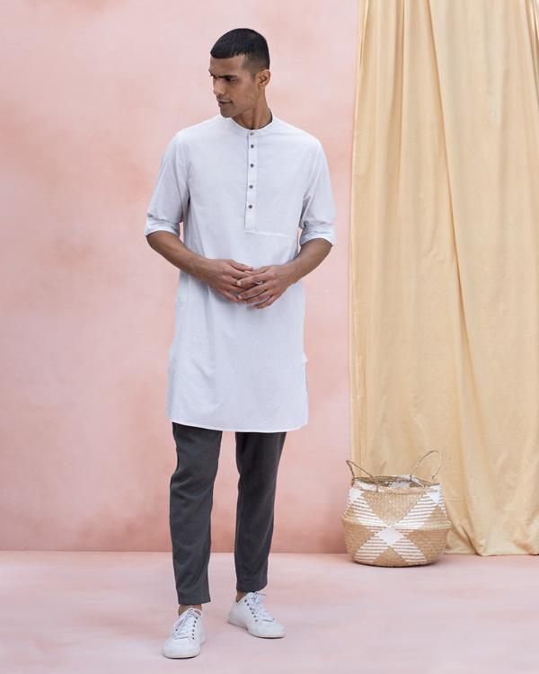 Panel Stripe Kurta - Grey
