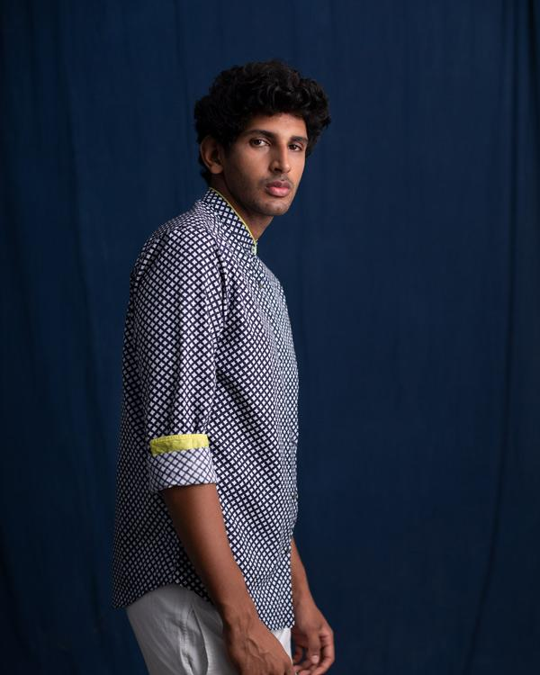 Piped Shirt - Grey & Blue