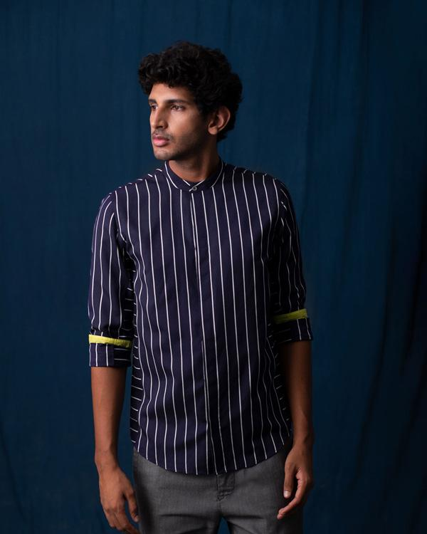 Side Panel Stripe Shirt - Navy & Grey
