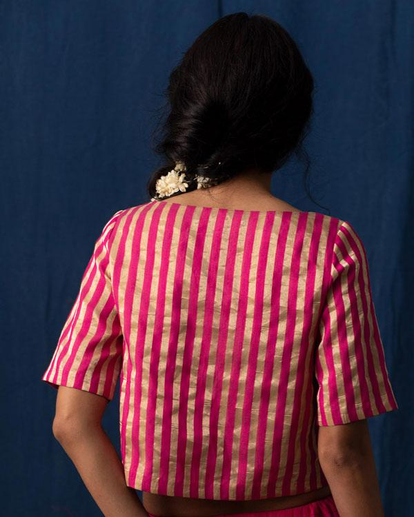 Afterglow Blouse - Fuchsia and Gold