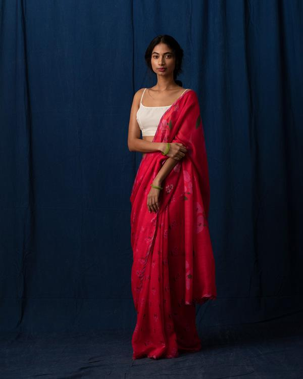 Forest Flame Sari - Red