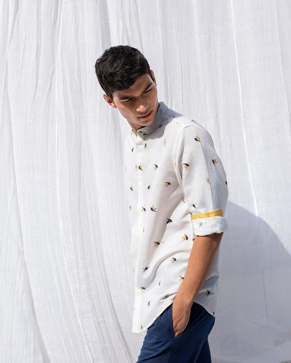One Button Shirt- Ivory