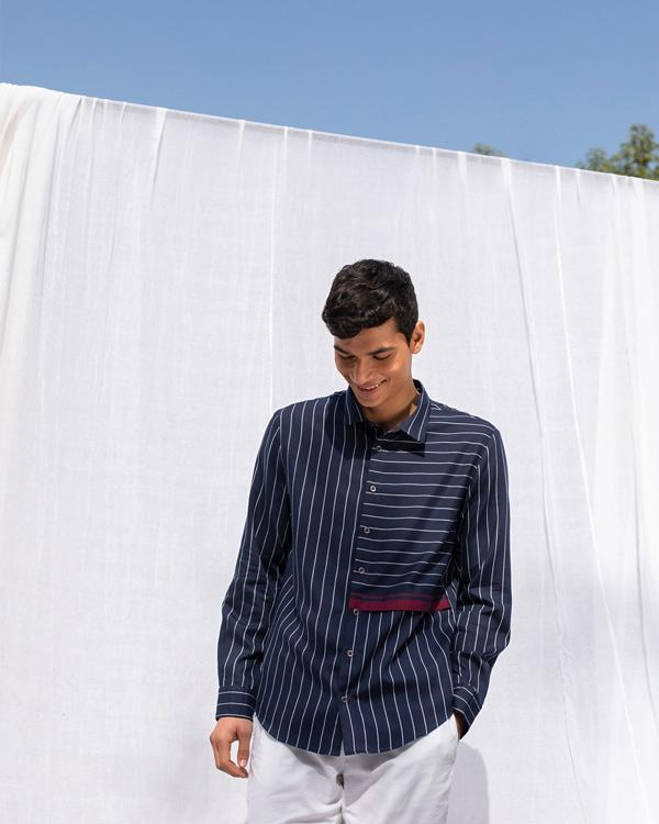 Panel Shirt - Navy & White