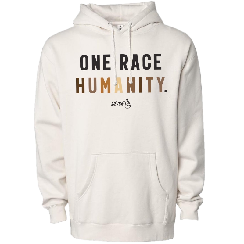 We Are One Humanity Pullover Bone Hoodie