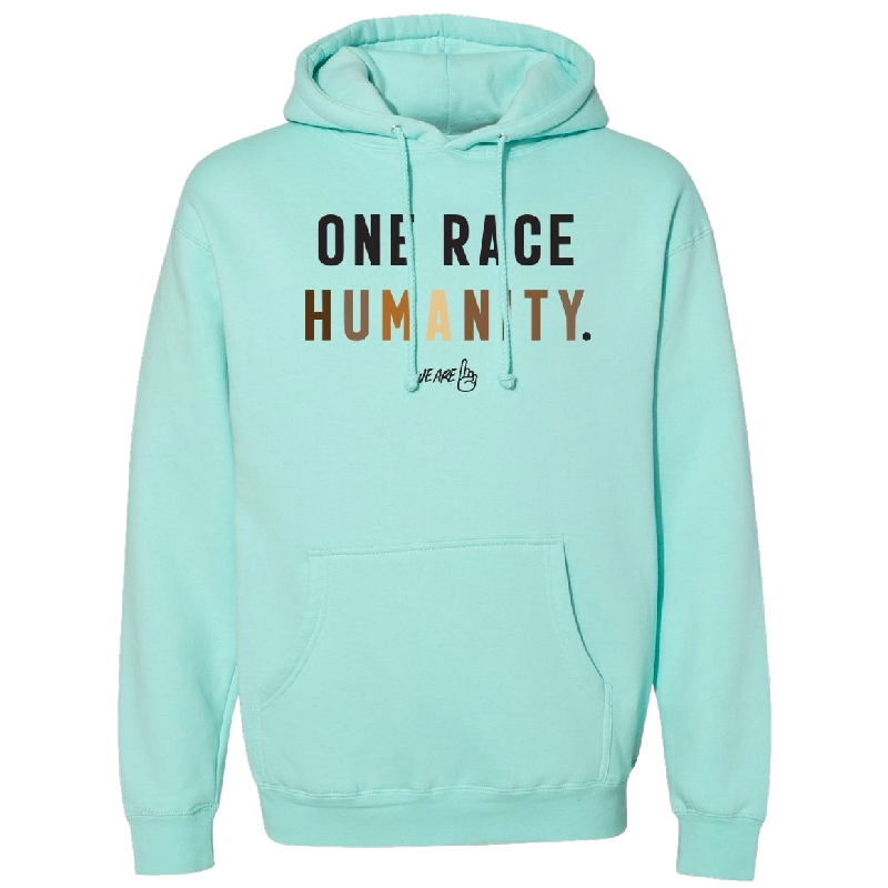 We Are One Humanity Pullover Mint Hoodie