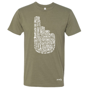 We Are One Unisex Light Olive Tee- Hand Design