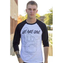 Load image into Gallery viewer, We Are One White and Black Raglan Tee