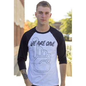 We Are One White and Black Raglan Tee
