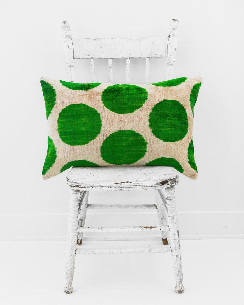 "16"" x 24"" Silk Velvet Ikat Pillow, Apple Green-Pillow-Indigo+Lavender"