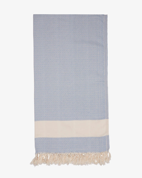 "37"" x 74"" Turkish Cotton Diamond Throw, Baby Blue-Throw-Indigo+Lavender"