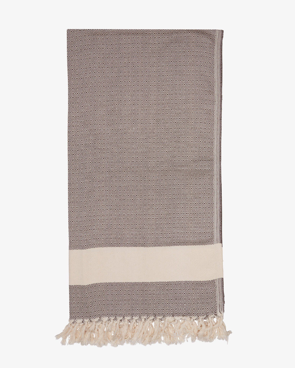 "37"" x 74"" Turkish Cotton Diamond Throw, Brown-Throw-Indigo+Lavender"