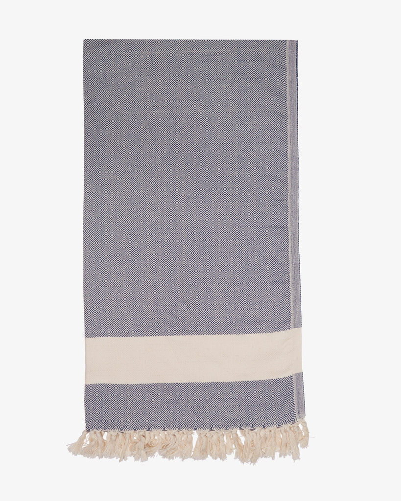 "37"" x 74"" Turkish Cotton Diamond Throw, Dark Blue-Throw-Indigo+Lavender"