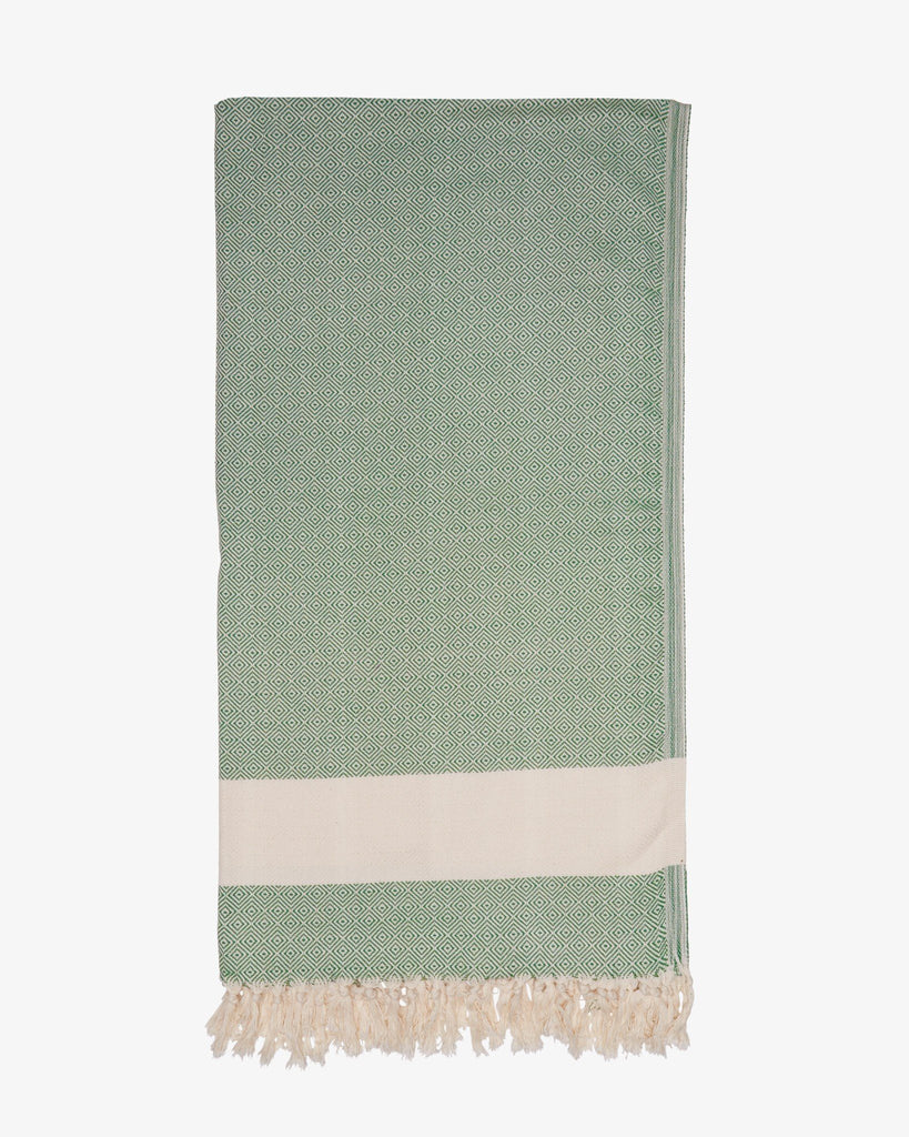 "37"" x 74"" Turkish Cotton Diamond Throw, Green-Throw-Indigo+Lavender"