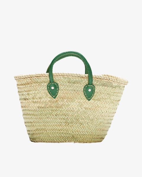 BARCELONA, Short Leather Handle, Forest Green-French Basket-Indigo+Lavender