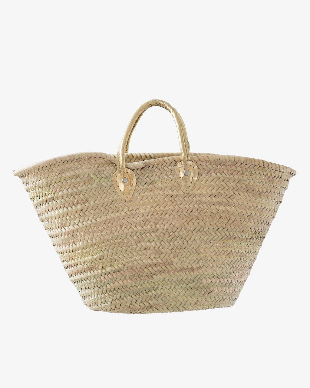 BARCELONA, Short Leather Handle, Gold-French Basket-Indigo+Lavender