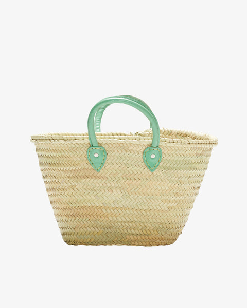 BARCELONA, Short Leather Handle, Mint Green-French Basket-Indigo+Lavender
