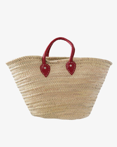 BARCELONA, Short Leather Handle, Red Cherries-French Basket-Indigo+Lavender