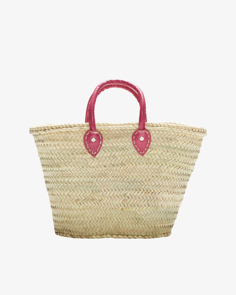 BARCELONA, Short Leather Handle, Strawberry Pink-French Basket-Indigo+Lavender
