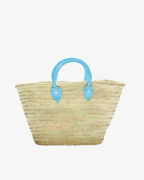 BARCELONA, Short Leather Handle, Turquoise-French Basket-Indigo+Lavender