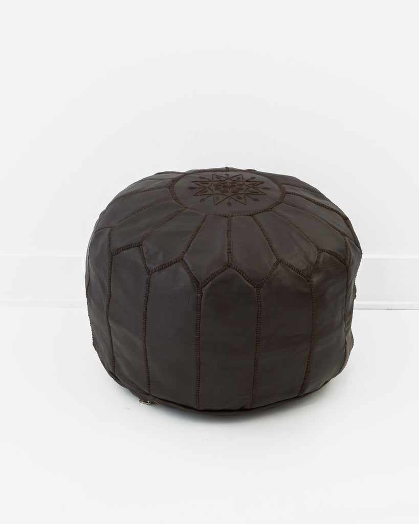 KHA-01-11. Leather Pouf, Chocolate-Moroccan Pouf-Indigo+Lavender