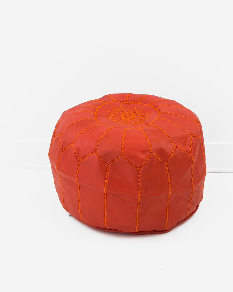 Leather Pouf, Blood Orange-Moroccan Pouf-Indigo+Lavender