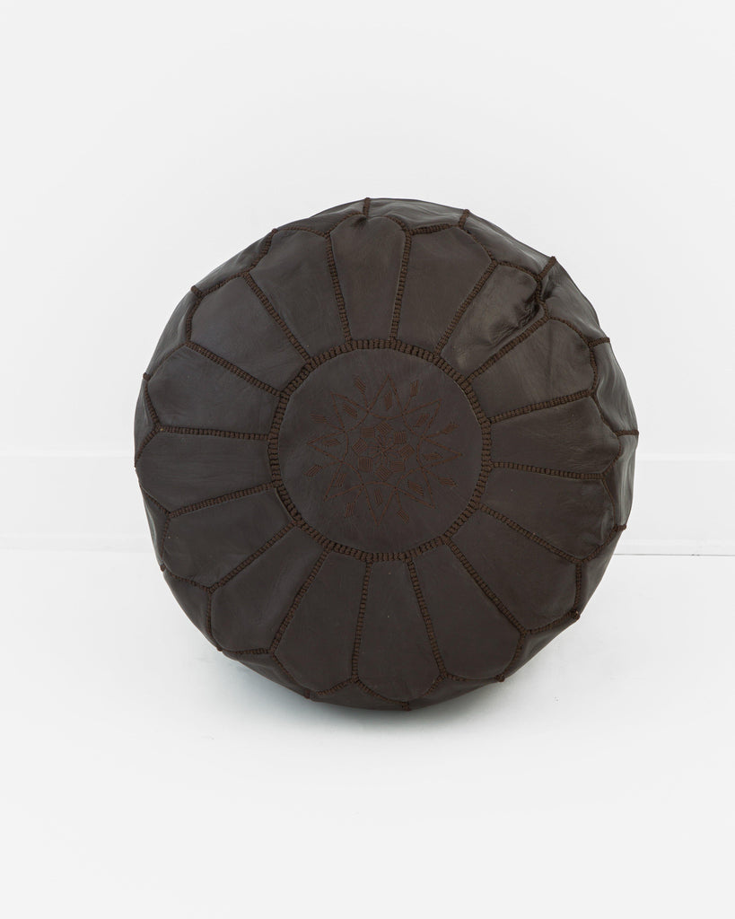 Leather Pouf, Chocolate-Moroccan Pouf-Indigo+Lavender