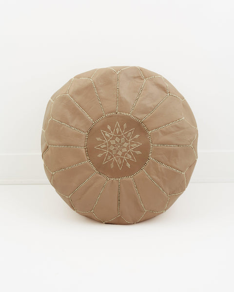 Leather Pouf, Coffee-Moroccan Pouf-Indigo+Lavender