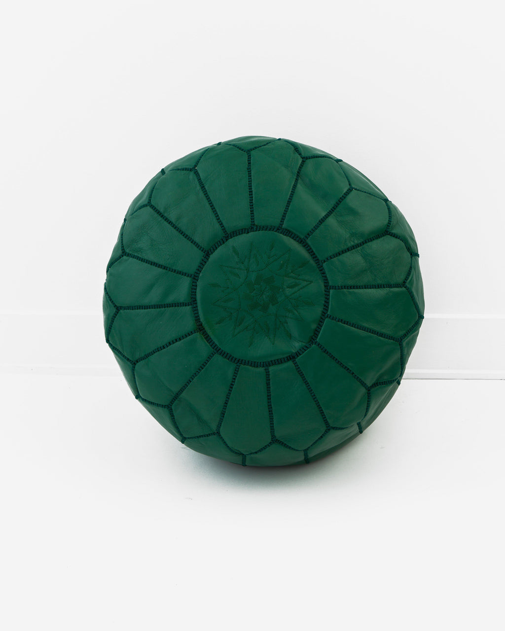 Leather Pouf, Hunter Green-Moroccan Pouf-Indigo+Lavender
