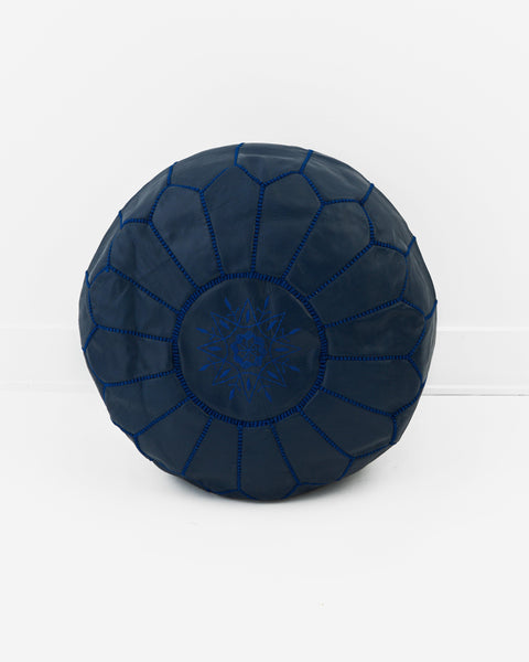 Leather Pouf, Ink Blue-Moroccan Pouf-Indigo+Lavender