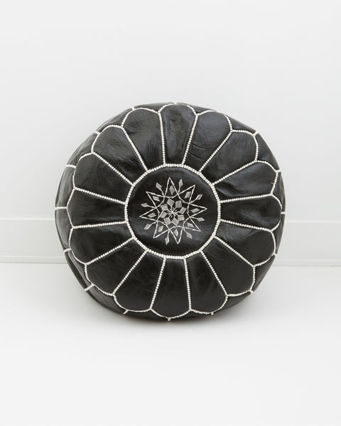 Leather Pouf, Midnight Black-Moroccan Pouf-Indigo+Lavender