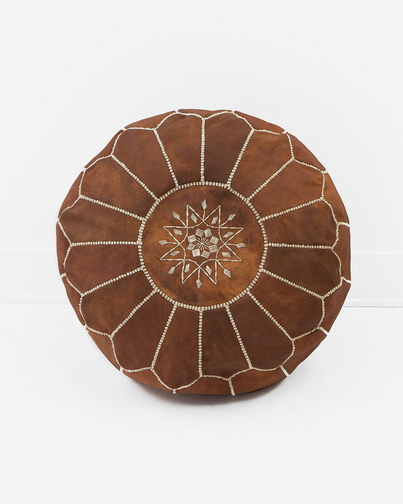 Leather Pouf, Natural Brown-Moroccan Pouf-Indigo+Lavender