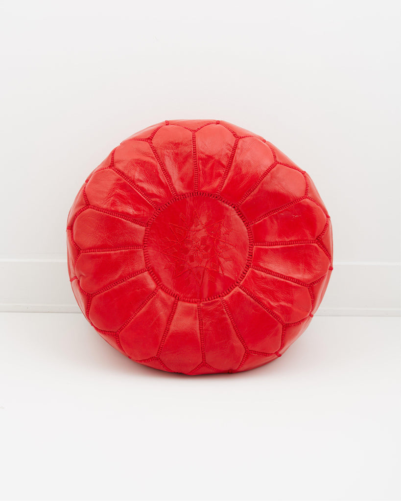 Leather Pouf, Poppy Red-Moroccan Pouf-Indigo+Lavender