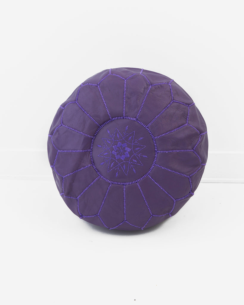 Leather Pouf, Purple-Moroccan Pouf-Indigo+Lavender