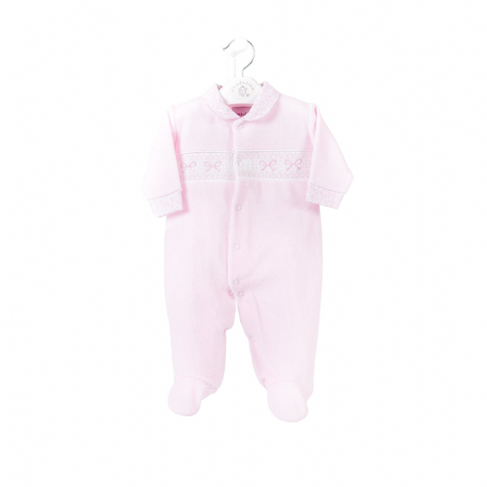 Pink Ribbon Smocked Velour Sleepsuit