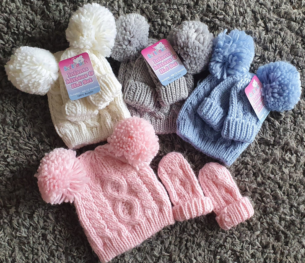 Knitted double pom pom hat and mittens set. 0-12 months