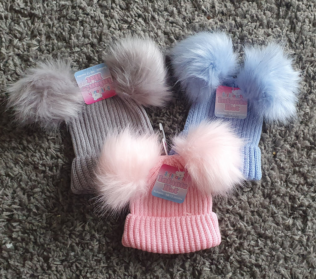 Double Pom Pom Hat, Newborn-12 months