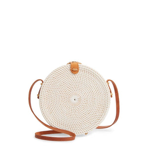 Colorful Basic Handwoven Round Rattan Bag Shoulder Leather Straps Natural Chic - Bali Handmade