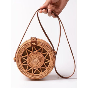 Brown Wreath Handwoven Round Rattan Bag Shoulder Leather Straps Natural Chic - Bali Handmade