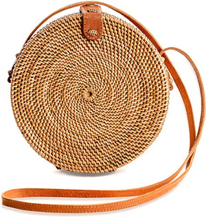 Basic Handwoven Round Rattan Bag Shoulder Leather Straps Natural Chic - Bali Handmade