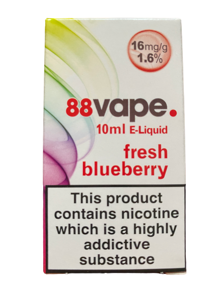 88 Vape E Liquid - Fresh Blueberry - 16mg Nicotine (10ml)