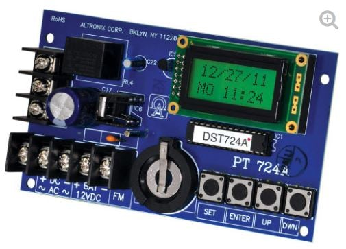 ALTRONIX PT724A Timer, 365 Day 24 Hour Annual Event, 1 Channel, LCD Display, Battery Charger, Board
