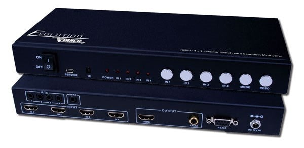 Vanco Evolution HDMI® 4 x 1 Selector Switch with Seamless Switching and Multiview - PAM Distributing Co - 1