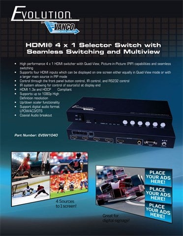 Vanco Evolution HDMI® 4 x 1 Selector Switch with Seamless Switching and Multiview - PAM Distributing Co - 5
