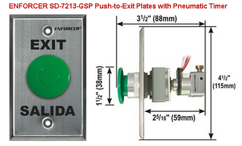 SECO-LARM SD-7213-GSP Request-to-Exit Plates with Pneumatic Timer - PAM Distributing Co