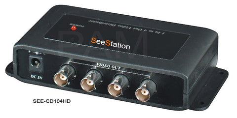 SEESTATION CD104HD Single Input to 4 Output HD-TVI/AHD/HDCVI Video Splitter / Distributor  (BNC) - PAM Distributing Co
