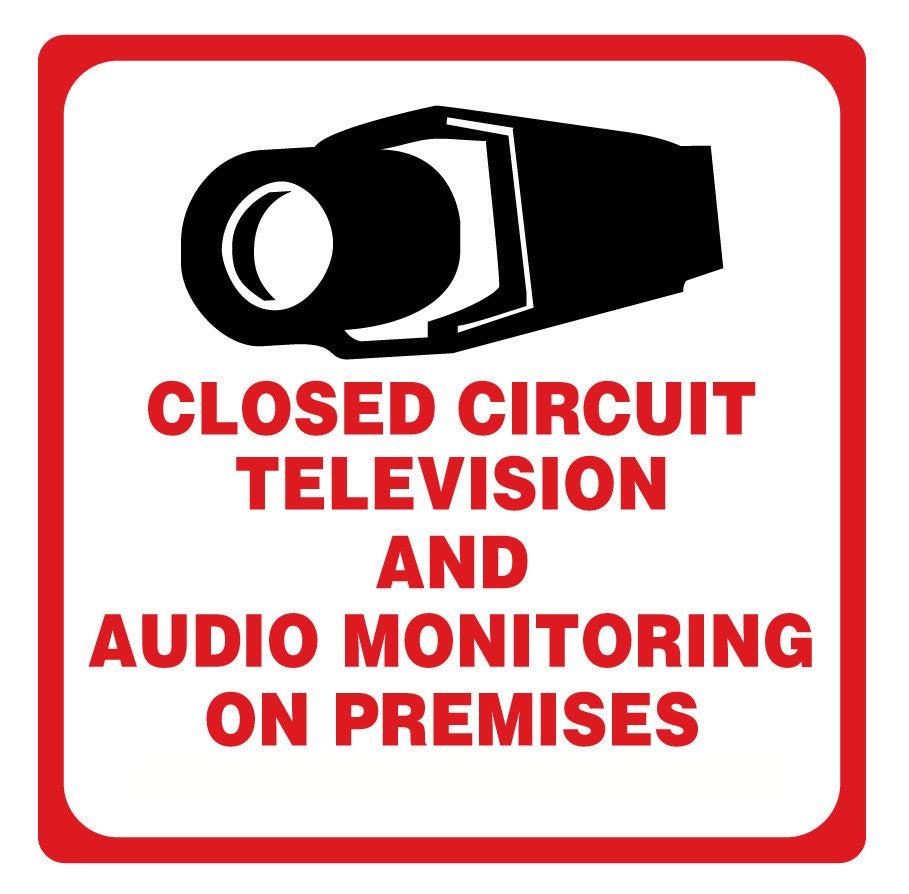 "Warning Sign CCTV & Audio Recording 10.5"" x 10.5"" Square"