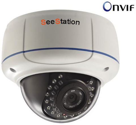 SeeStation (IP) CIP2220V-1W IP Dome Camera Vandal Resistat 1.3MP IR POE ONVIF 2.8-12mm Varifocal Lens - PAM Distributing Co