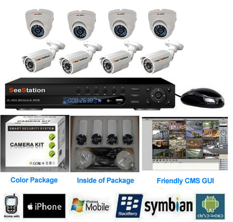 SeeStation DVR Kit 8 Channel 960H With 8 Each 800TVL BLACK Cameras - PAM Distributing Co
