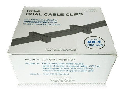 Telecrafter TP-66ES Cable Clip / Staple For Dual RG 6 Cable 400ea  Black - PAM Distributing Co - 1